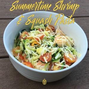 Summertime Shrimp and Squash Pasta