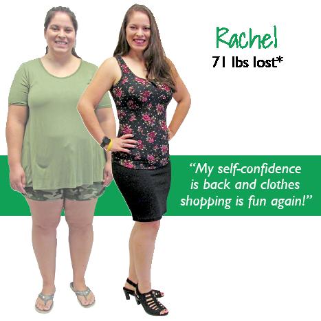 Rachel's weight loss testimonal image