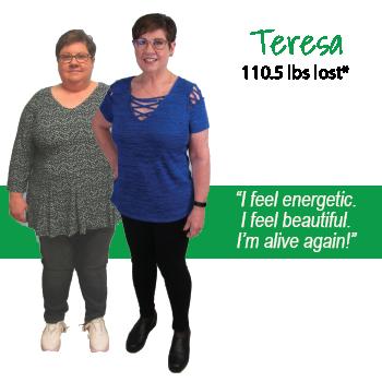 Teresa's weight loss testimonal image