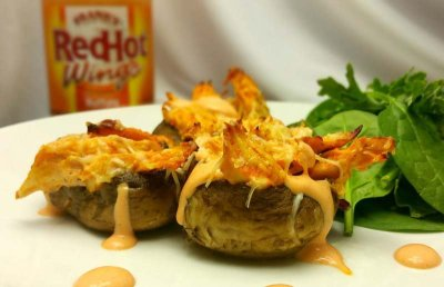 Buffalo Chicken Stuffed Mushrooms with Franks Wing Sauce