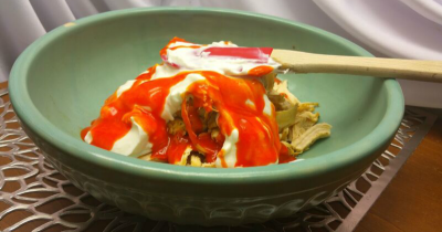 Frank's Red Hot Sauce Combined with Shredded Chicken and Greek Yogurt