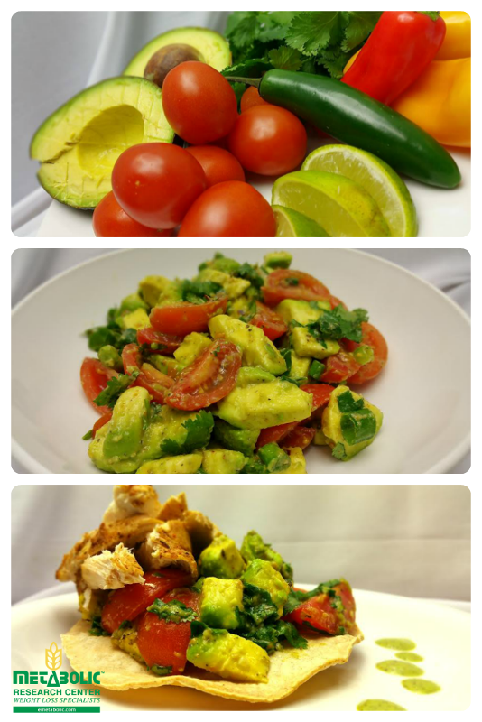 Fresh and Zesty Tomato & Avocado Salad served over a Low-Calorie Tortilla