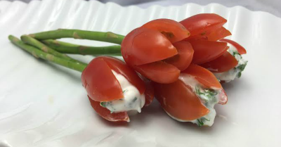 Bouquet of Low-Fat Tomato Tulips with Asparagus Stems