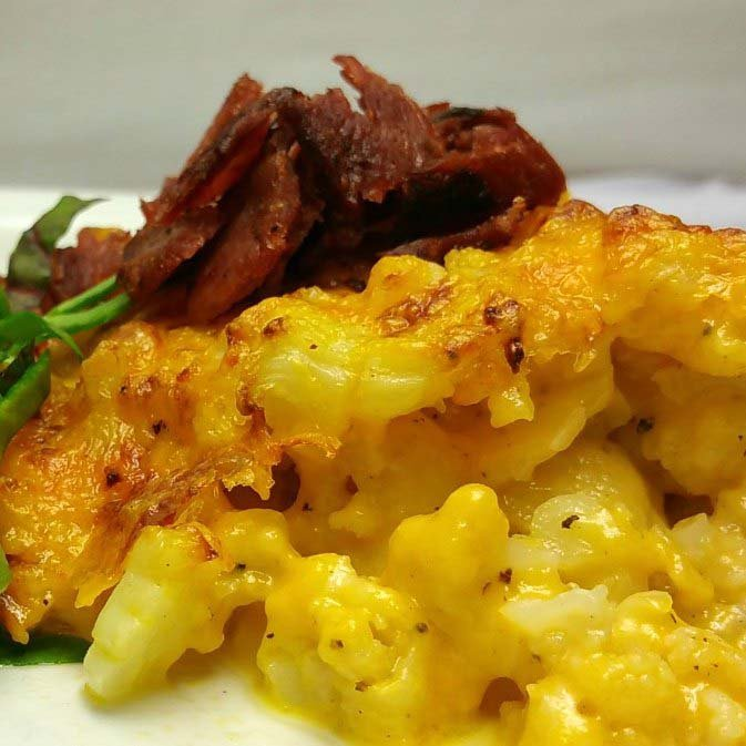 Low Carb Mac N Cheese. Cauliflower Mac N Cheese