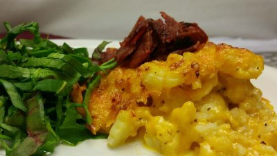 Low Carb Cauliflower Mac & Cheese with Bacon
