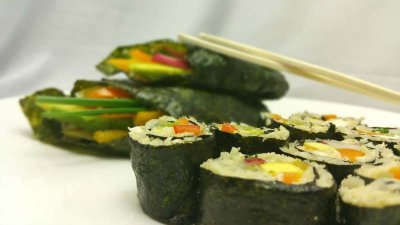 Healthy Vegetable Sushi made with Riced Cauliflower