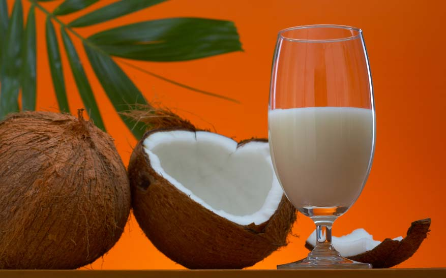 Cracked Coconut and Glass of Milk