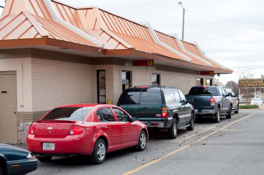 Line at Fast Food Drive Thru