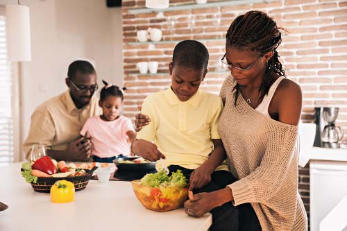 Family Preparing Colorful Meal