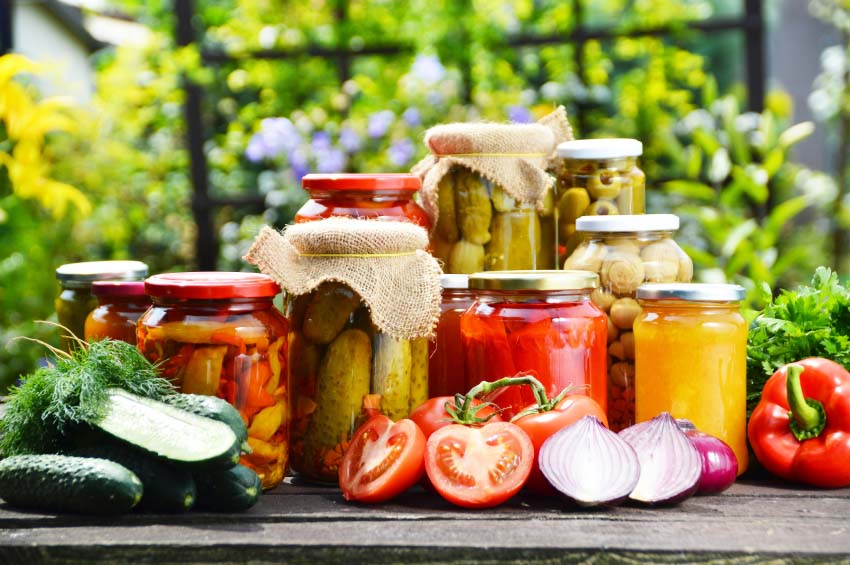 Table of Canned and Pickled Fresh Vegetables