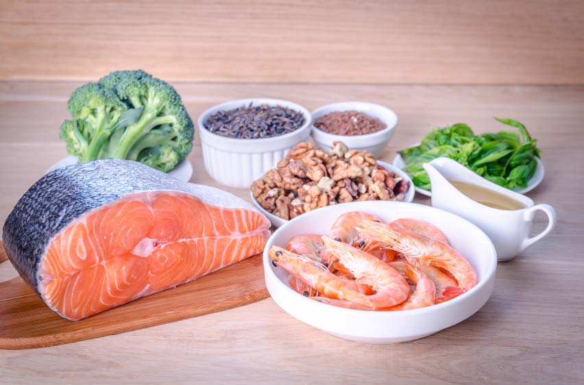 Healthy Foods (salmon, nuts, broccoli, lentils, spinach)