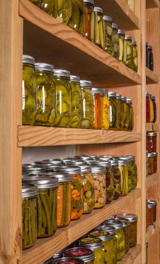 Shelves of Canned Fresh Food