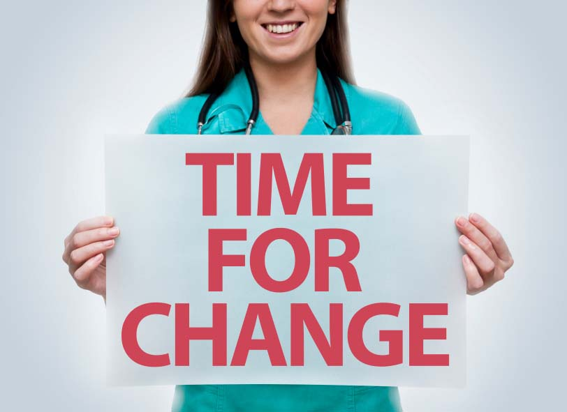 Nurse Holding Time for Change Poster