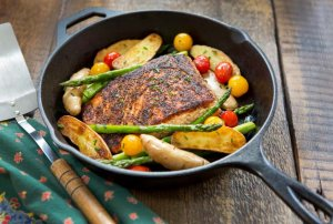 Cooked Salmon in Cast Iron Skillet