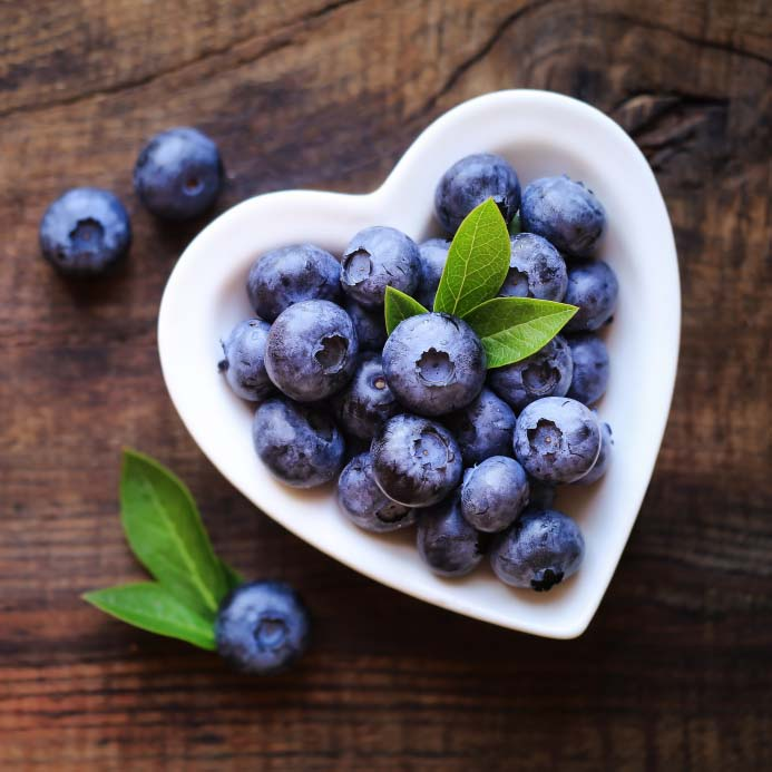 Heart Shaped Bowl of Blueberries