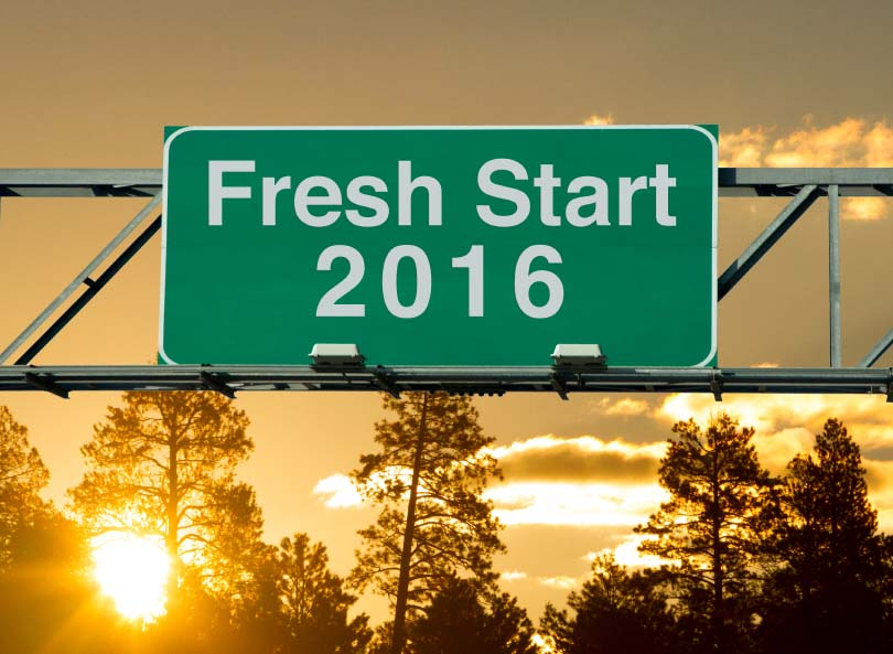 Road Sign with Fresh Start 2016
