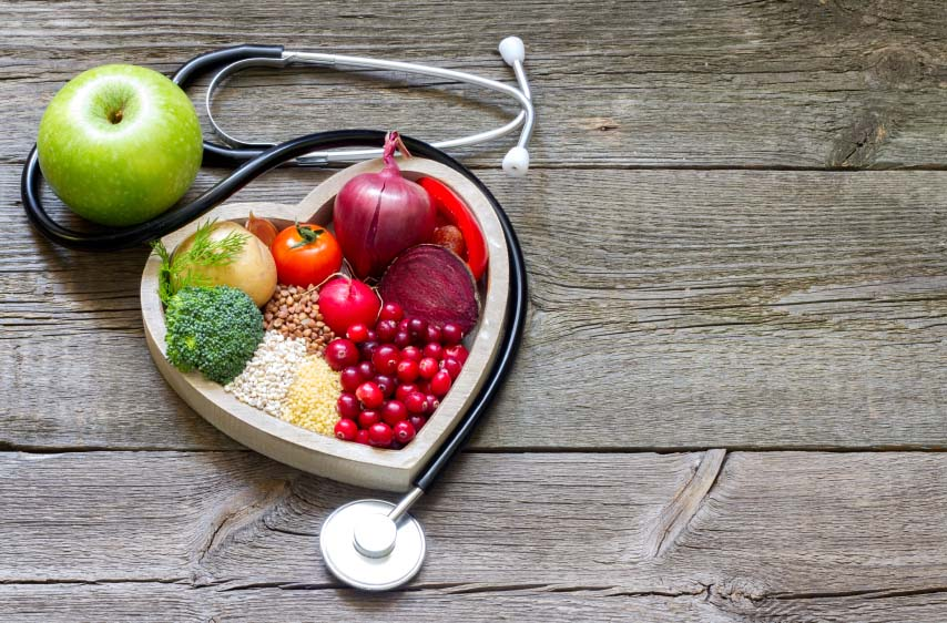 Stethoscope and Heart Healthy Foods