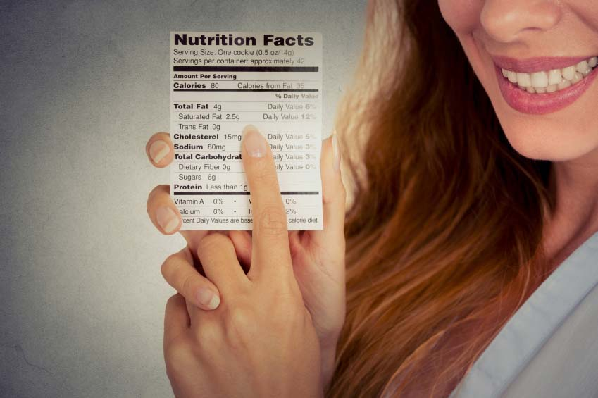 Woman Pointing to Fat Content on FDA Food Label
