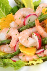Radishes with Shrimp and Asparagus on a Citrus Salad
