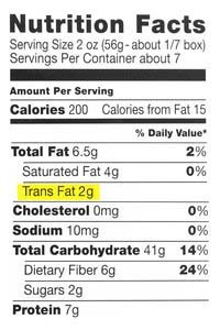 FDA Food Label with Grams of Trans Fat