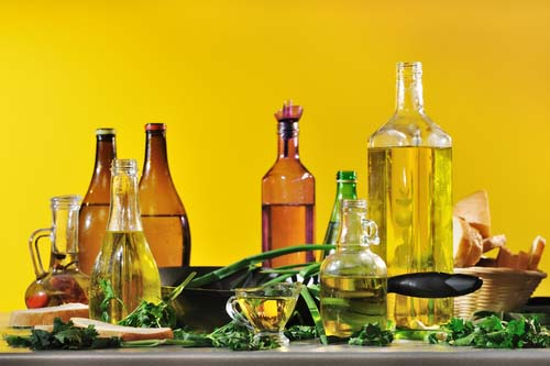 Bottles of Various Cooking Oils