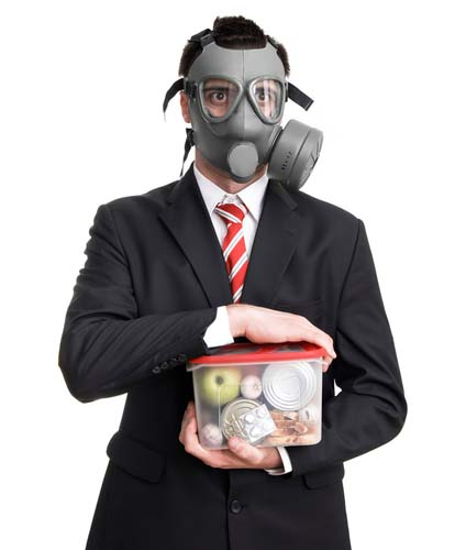 Man with Toxic Mask Holding a Container of Food