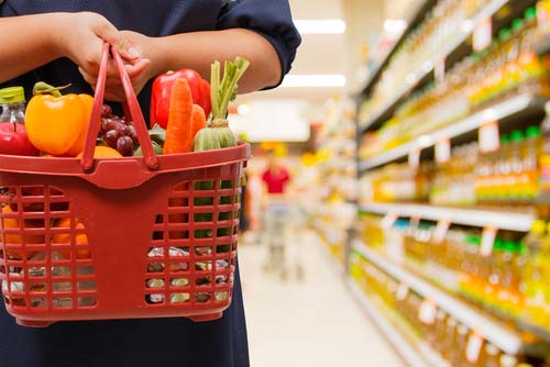 Woman's Basket Filled with Healthy Choices