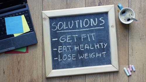 Blackboard with Solutions to New Year's Resolution