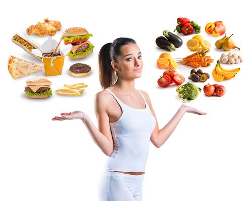 Woman Juggling Options for Snacks
