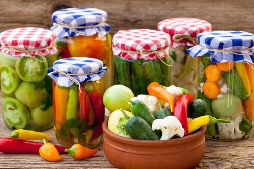 Jars of Pickles, Peppers, Tomatoes and More