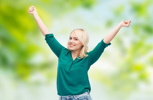 Woman Celebrating Weight Loss Success