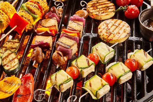 Grill Filled with Tofu Options and Veggies