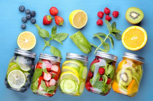 Ingredients and Jars Filled with Detox Water