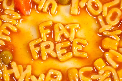 Fat Free Spelled in Alphabet Soup