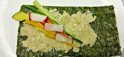 Healthy Vegetable Sushi dipped in Low-Sodium Braggs Liquid Aminos